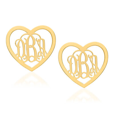 14kt Yellow Gold Medium Laser Polished Heart Monogram Post Earrings, , default