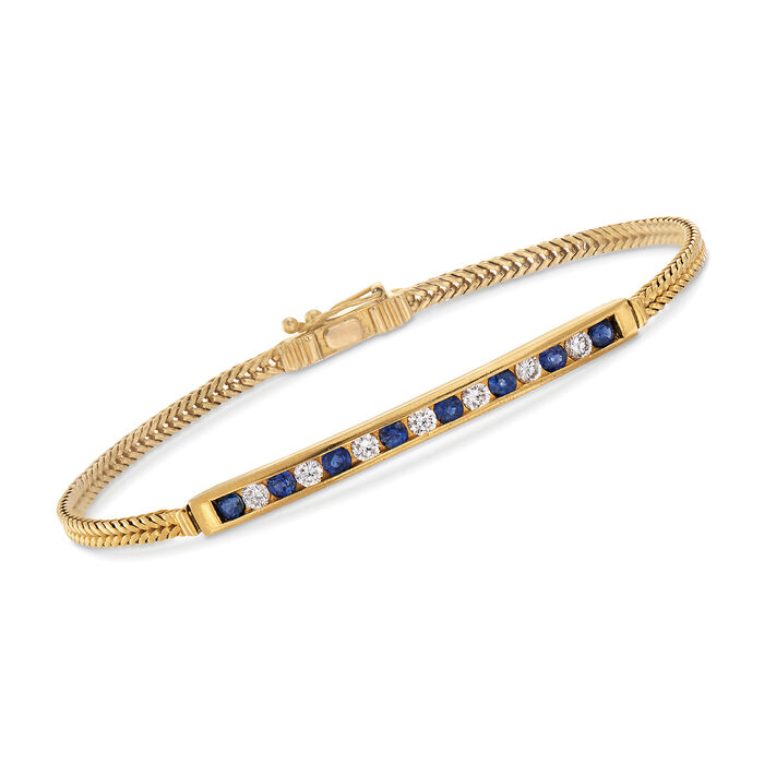 """C. 2000 Vintage Tiffany Jewelry .50 ct. t.w. Sapphire and .50 ct. t.w. Diamond Bar Bracelet in 18kt Yellow Gold. 7.5"""", , default"""