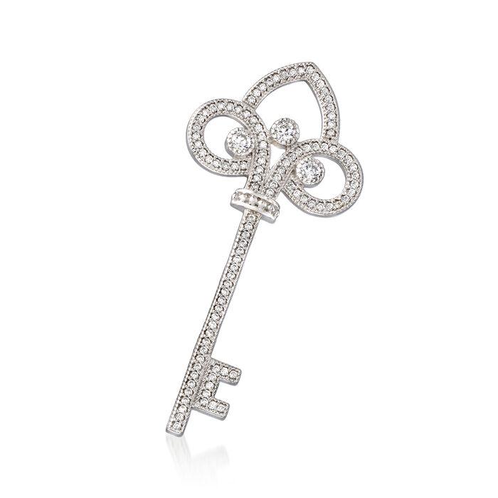 .68 ct. t.w. CZ Key Pin in Sterling Silver, , default