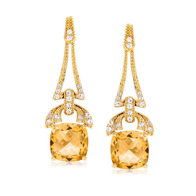 5.50 ct. t.w. Citrine and .40 ct. t.w. White Topaz Drop Earrings in 18kt Gold Over Sterling, , default