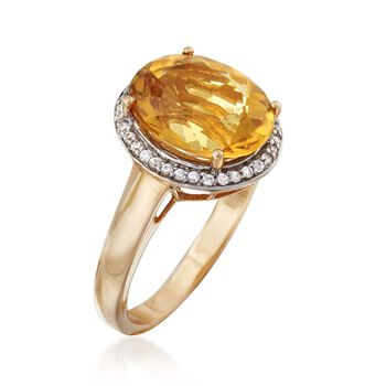 4.40 Carat Yellow Beryl and .10 ct. t.w. White Zircon Ring in 14kt Yellow Gold, , default