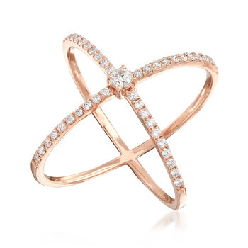 """.51 ct. t.w. Diamond """"X"""" Ring in 14kt Rose Gold. Size 5, , default"""