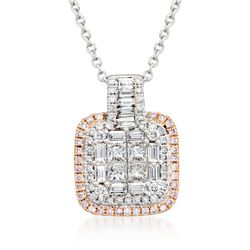 "Gregg Ruth 1.03 ct. t.w. Pink and White Diamond Pendant Necklace in 14kt Two-Tone Gold. 18"", , default"