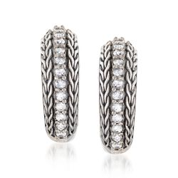 "Phillip Gavriel ""Woven"" .70 ct. t.w. White Sapphire Hoop Earrings in Sterling Silver. 5/8"", , default"