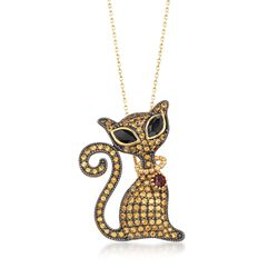 1.80 ct. t.w. Citrine and 1.00 ct. t.w. Black Spinel Cat Pin Pendant Necklace With Garnet in 18kt Gold Over Sterling, , default