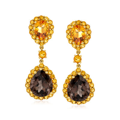 C. 1980 Vintage 8.50 ct. t.w. Smoky Quartz and 5.50 ct. t.w. Citrine Double-Drop Earrings in 14kt Yellow Gold
