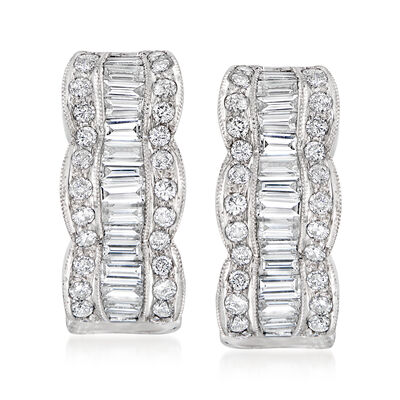 C. 1980 Vintage 2.15 ct. t.w. Diamond J-Hoop Earrings in 18kt White Gold, , default
