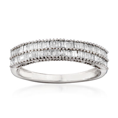 .50 ct. t.w. Baguette Diamond Double-Row Ring in Sterling Silver, , default