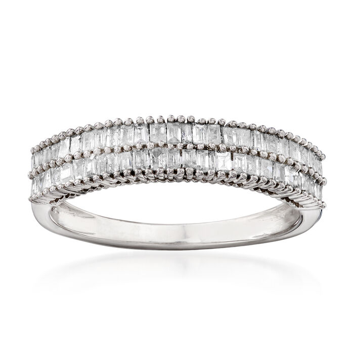 .50 ct. t.w. Baguette Diamond Double-Row Ring in Sterling Silver
