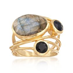 14x10mm Labradorite and 5mm Black Onyx Ring in 18kt Gold Over Sterling. Size 5, , default