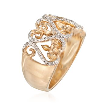.25 ct. t.w. Diamond Heart and Fleur-De-Lis Ring in 18kt Gold Over Sterling. Size 6, , default
