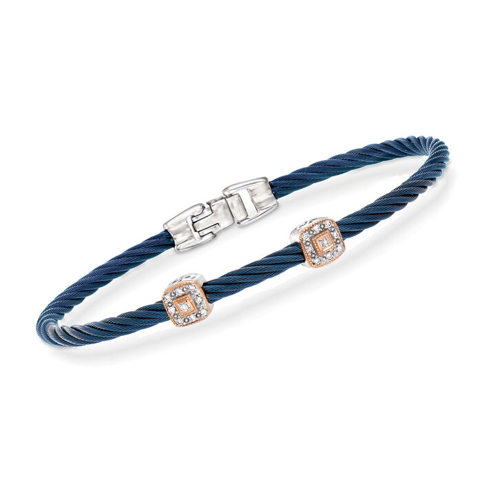 "ALOR ""Shades of Alor"" Blue Carnation Cable Station Bracelet with Diamond Accents in Stainless Steel and 18kt White and Rose Gold. 7"", , default"