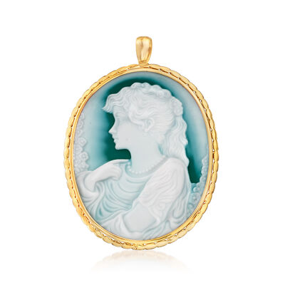 C. 1990 Vintage Blue Agate Cameo Pin/Pendant in 18kt Yellow Gold