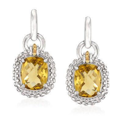 "Phillip Gavriel ""Popcorn"" 4.80 ct. t.w. Yellow Quartz Drop Earrings in Sterling Silver with 18kt Yellow Gold"