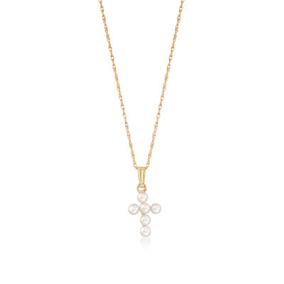 Child's 2.5-3mm Cultured Pearl Cross Pendant Necklace in 14kt Yellow Gold, , default