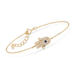 .72 ct. t.w. Blue and White CZ Hamsa Hand Bracelet in 14kt Gold Over Sterling, , default