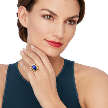 Italian Oval Lapis Ring in 18kt Gold Over Sterling. Size 6, , default