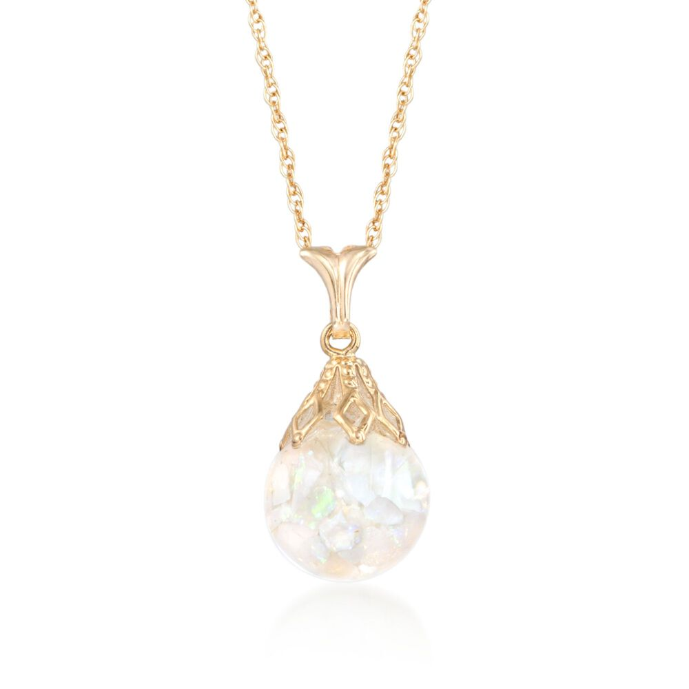 Floating opal pendant necklace in 14kt yellow gold 18 ross simons floating opal pendant necklace in 14kt yellow gold 18quot default aloadofball Image collections