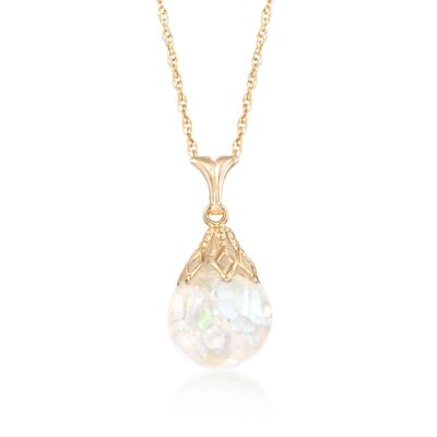 Floating Opal Pendant Necklace in 14kt Yellow Gold, , default