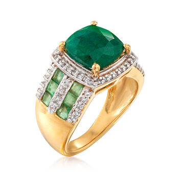 3.70 ct. t.w. Emerald and .40 ct. t.w. White Topaz Ring in 18kt Gold Over Sterling, , default