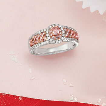 .71 ct. t.w. Pink and White Diamond Oval Ring in 18kt Two-Tone Gold, , default