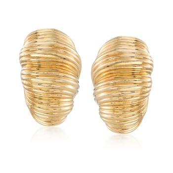 """C. 1980 Vintage 18kt Yellow Gold Ribbed Half-Hoop Earrings. 3/4"""", , default"""