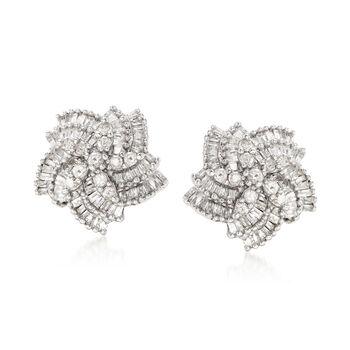 1.00 ct. t.w. Diamond Pinwheel Earrings in Sterling Silver, , default