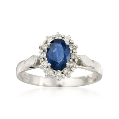 1.00 Carat Sapphire and .10 ct. t.w. Diamond Ring in 14kt White Gold, , default