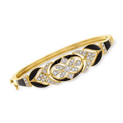 .75 ct. t.w. Diamond and Black Enamel Bangle Bracelet in 18kt Gold Over Sterling