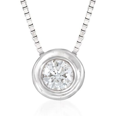 .12 ct. t.w. Bezel-Set Diamond Solitaire Necklace in 14kt White Gold, , default