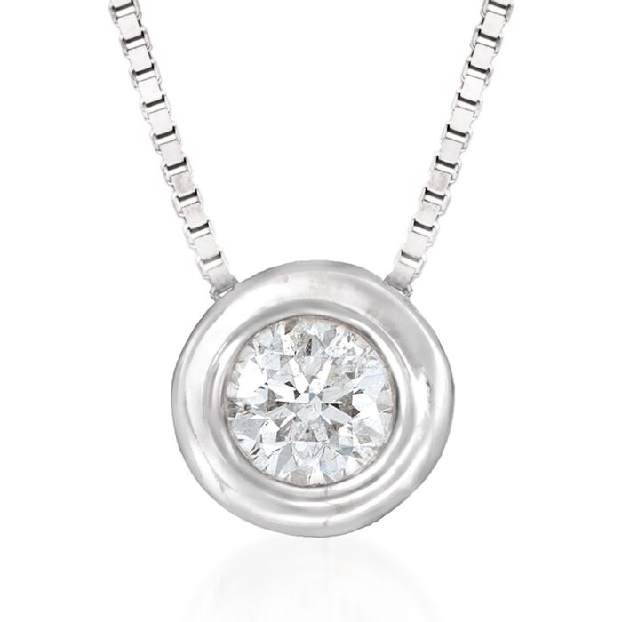 .12 ct. t.w. Bezel-Set Diamond Solitaire Necklace in 14kt White Gold, , default