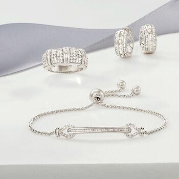 """.70 ct. t.w. Baguette and Round Diamond Huggie Hoop Earrings in Sterling Silver. 1/2"""", , default"""