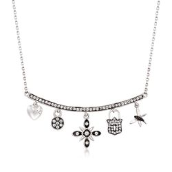 ".60 ct. t.w. White Topaz Charm Necklace With Black Spinel Accents in Sterling Silver. 18"", , default"