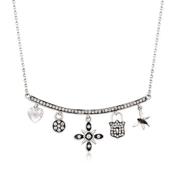 """.60 ct. t.w. White Topaz Charm Necklace With Black Spinel Accents in Sterling Silver. 18"""", , default"""