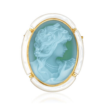 """C. 1980 Vintage Mother-Of-Pearl and Green Glass Cameo Pin/Pendant in 18kt Yellow Gold. 18"""""""