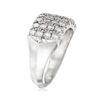 C. 1970 Vintage 1.00 ct. t.w. Diamond Multi-Row Ring in 14kt White Gold. Size 6, , default