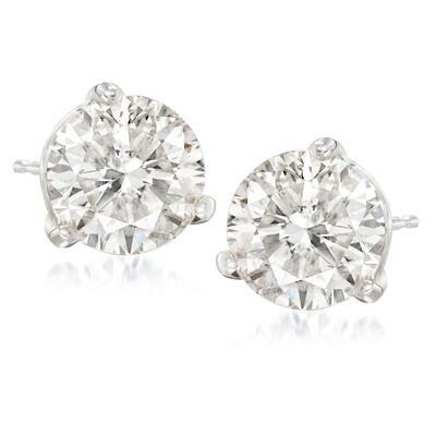 4.08 ct. t.w. Diamond Stud Earrings in 14kt White Gold