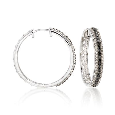 .99 ct. t.w. Black and White Diamond Hoop Earrings in 14kt White Gold, , default