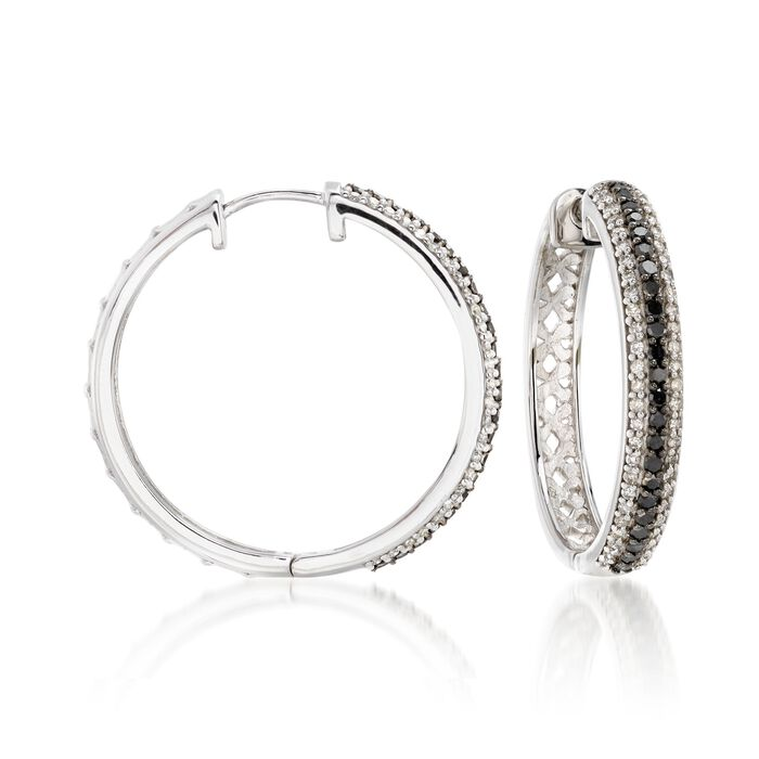 ".99 ct. t.w. Black and White Diamond Hoop Earrings in 14kt White Gold. 1"", , default"
