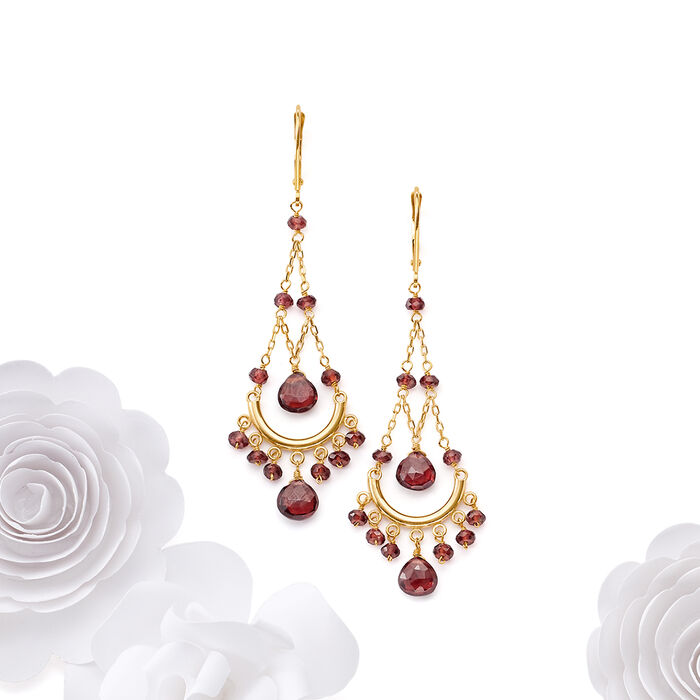 22.00 ct. t.w. Garnet Chandelier Earrings in 14kt Yellow Gold