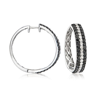 3.00 ct. t.w. Black and White Diamond Hoop Earrings in Sterling Silver