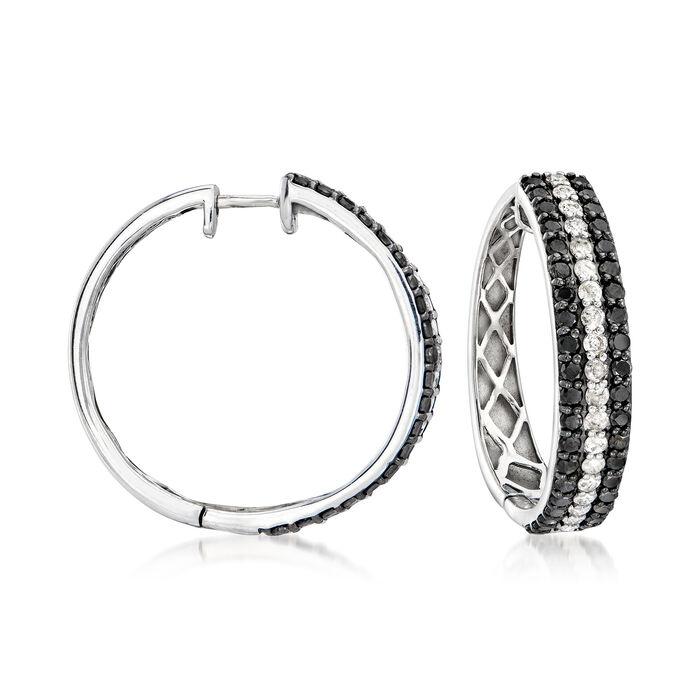 3.00 ct. t.w. Black and White Diamond Hoop Earrings in Sterling Silver