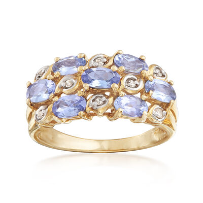 C. 1990 Vintage 1.75 ct. t.w. Tanzanite Ring With Diamond Accents in 10kt Yellow Gold, , default