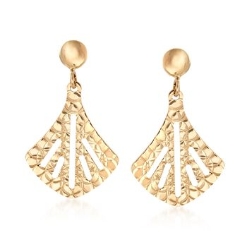 14kt Yellow Gold Fan Drop Earrings , , default