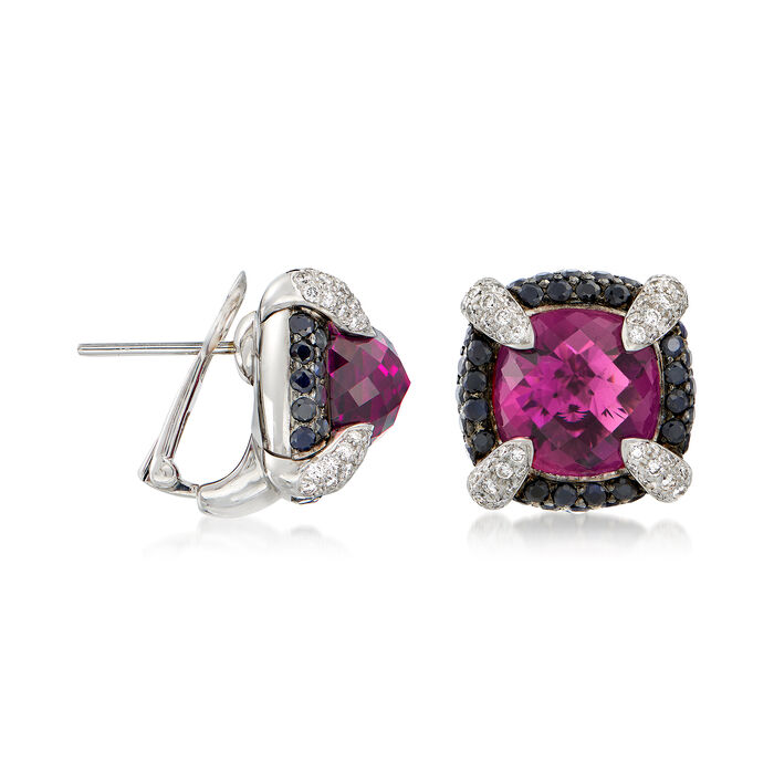 C. 2000 Vintage 18.50 ct. t.w. Rhodolite Garnet and 2.15 ct. t.w. Sapphire Earrings with Diamonds in 18kt White Gold