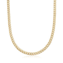 Men's 5.5mm 14kt Yellow Gold Miami Cuban Link Necklace, , default