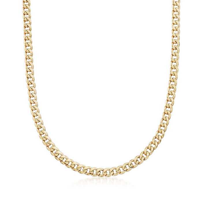 "Men's 5.5mm 14kt Yellow Gold Miami Cuban Link Necklace. 24"", , default"