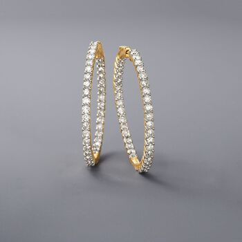 "5.00 ct. t.w. Diamond Inside-Outside Hoop Earrings in 14kt Yellow Gold. 1 1/2"", , default"