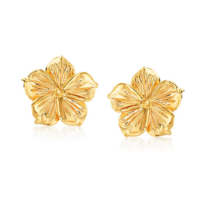 Italian 14kt Yellow Gold Flower Earrings, , default