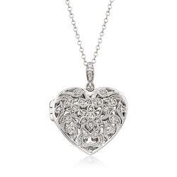 .14 ct. t.w. Diamond Filigree Heart Locket Pendant Necklace in Sterling Silver, , default